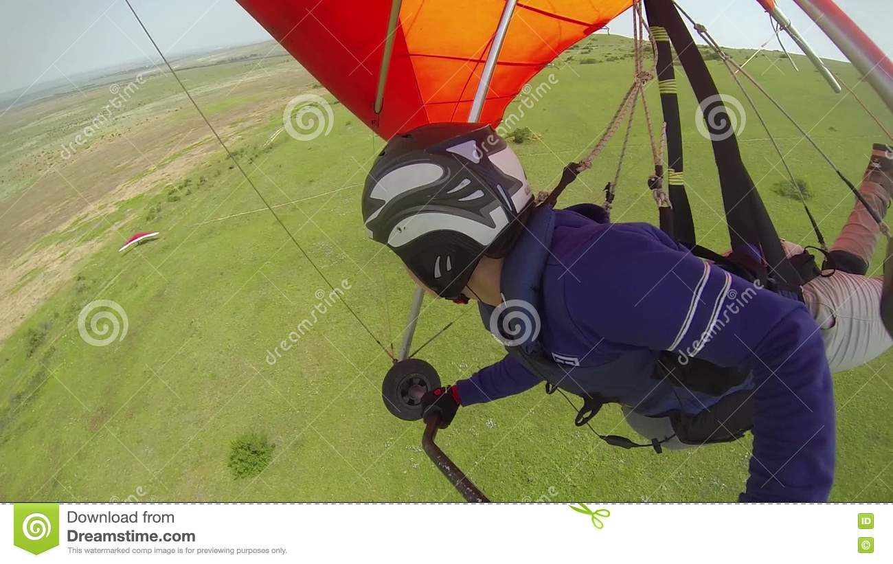 Girl Flying On A Hang-glider Stock Video - Video of landscape
