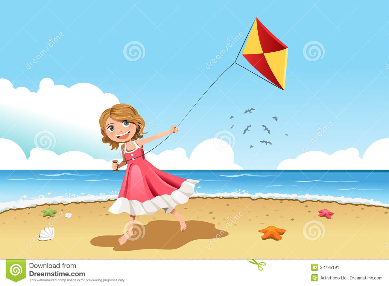 vector illustration of a little girl flying a kite on the beach.