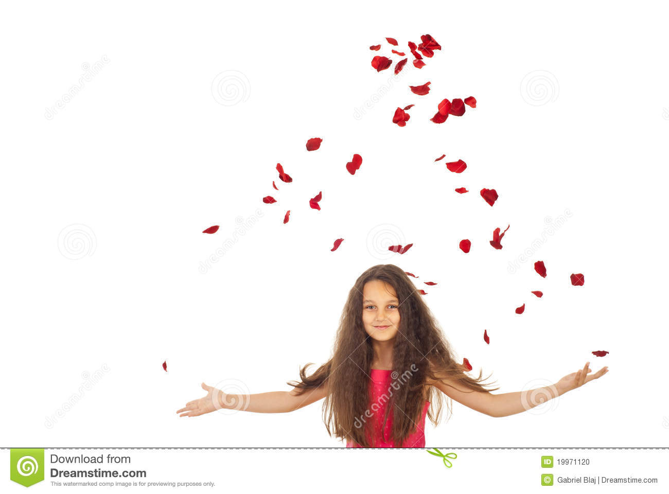 Girl with flying petals