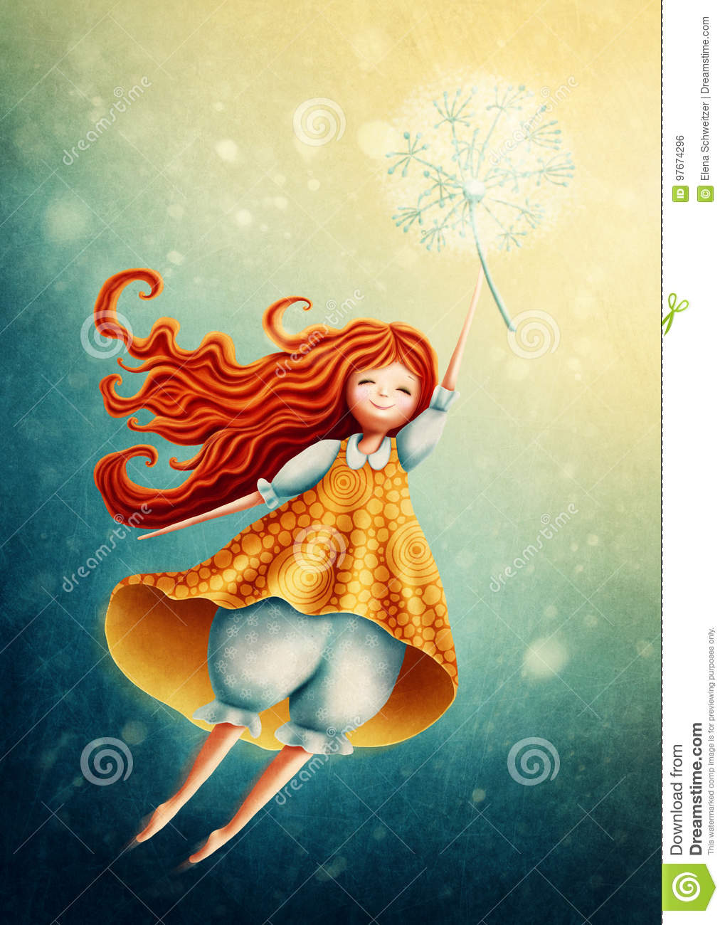 Girl flying in the sky with dandelion