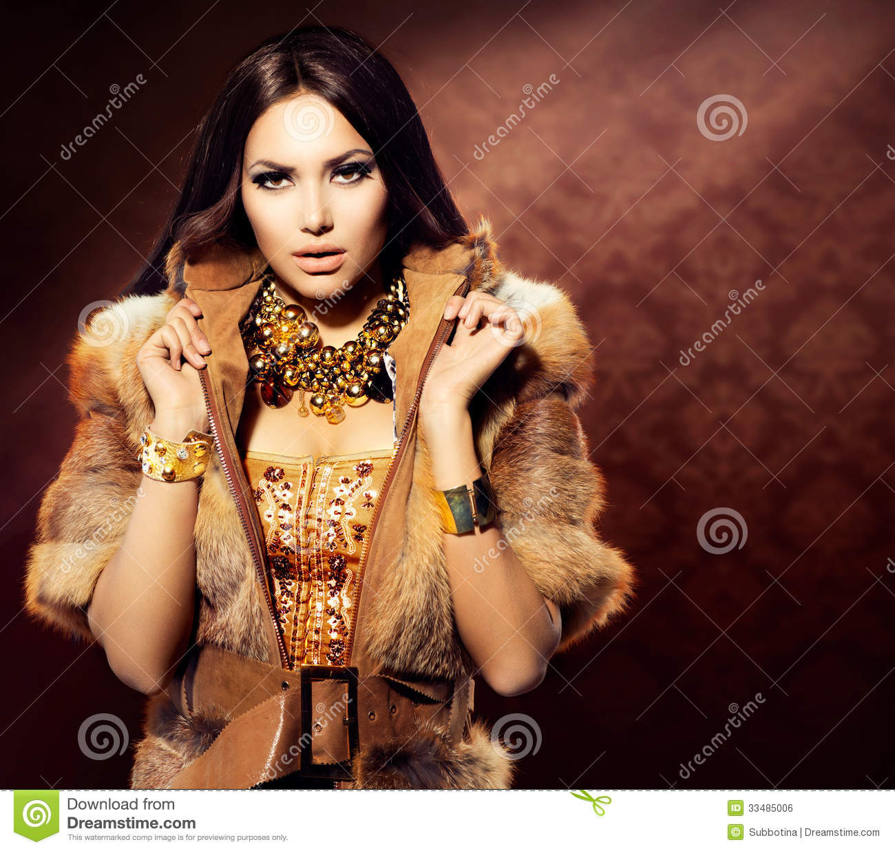 Girl in fox fur coat stock photo image of color leather for Luxury women