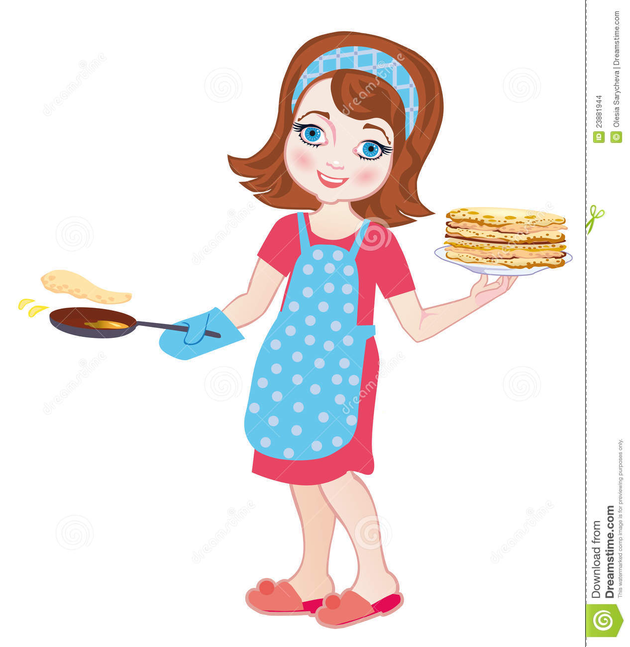 girl fries pancakes vector illustration stock images