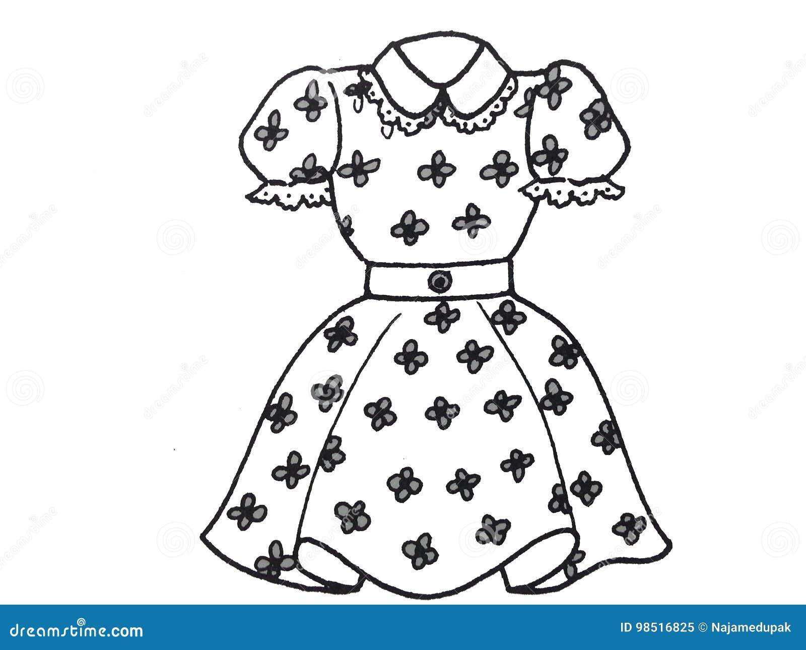 Flower Girl Dress Clipart Black And White