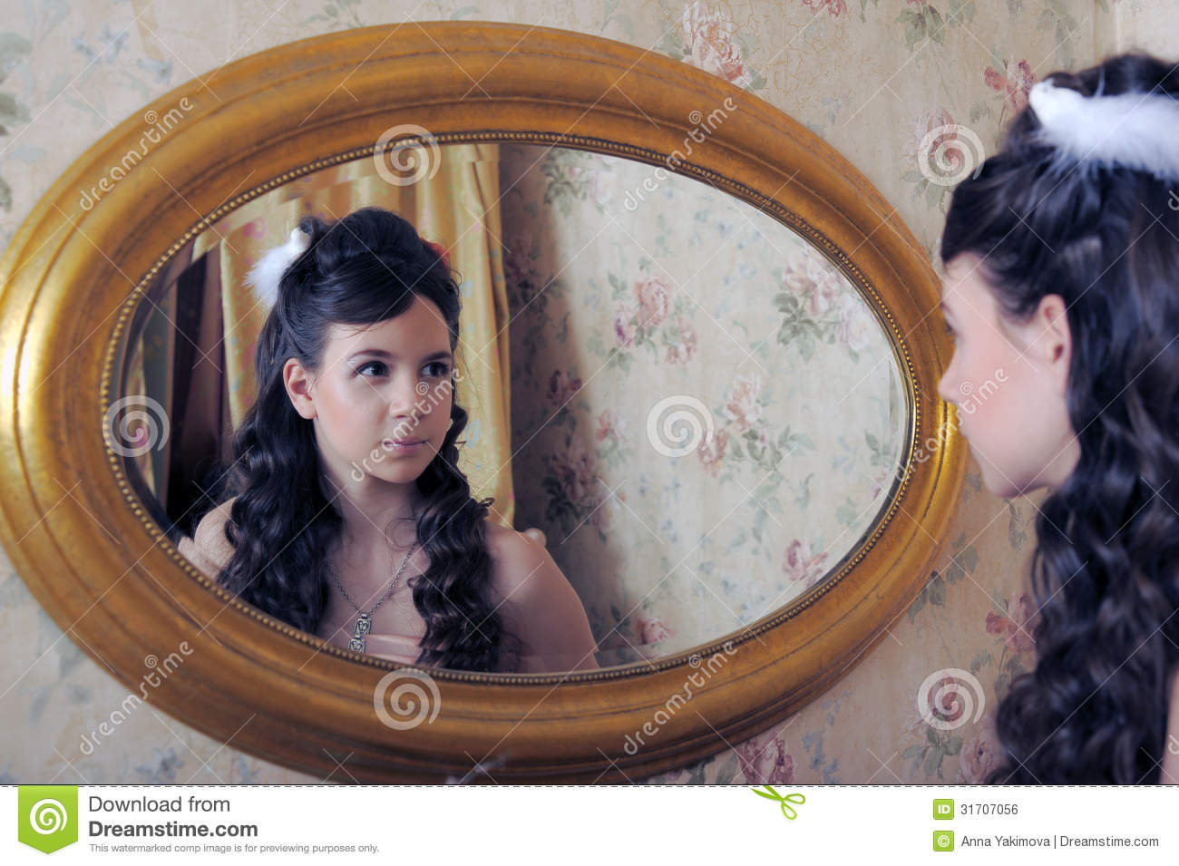 Doggystyle for young girl in front of the mirror
