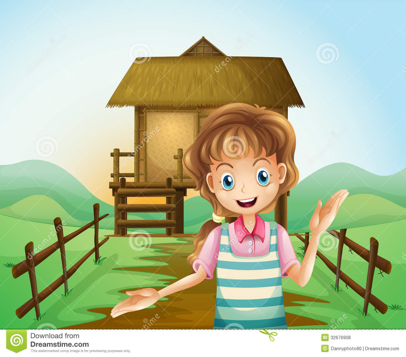 A Farm With Nipa Huts Vector Illustration Cartoondealer