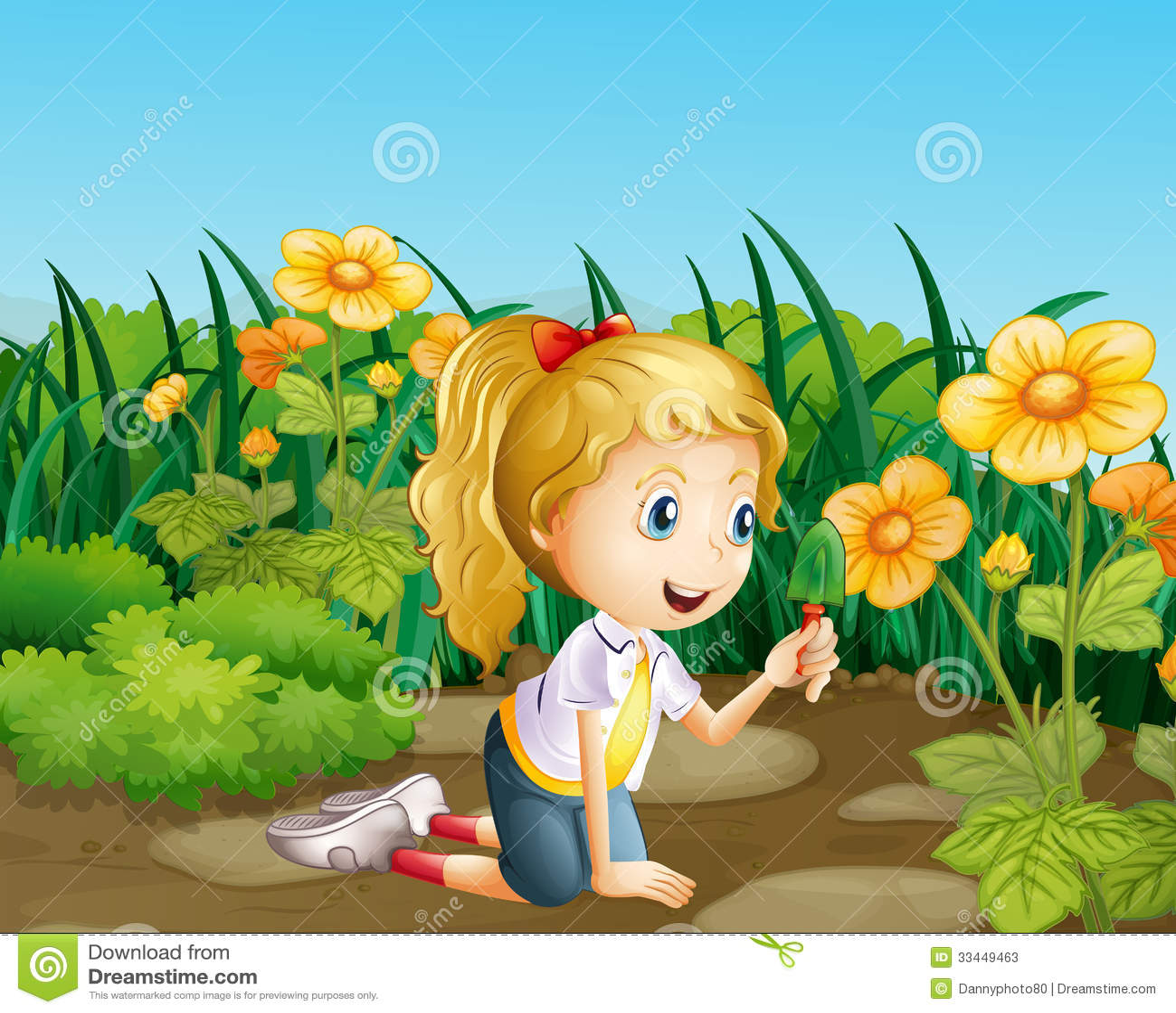 a girl in the garden holding a shovel - The Girls In The Garden