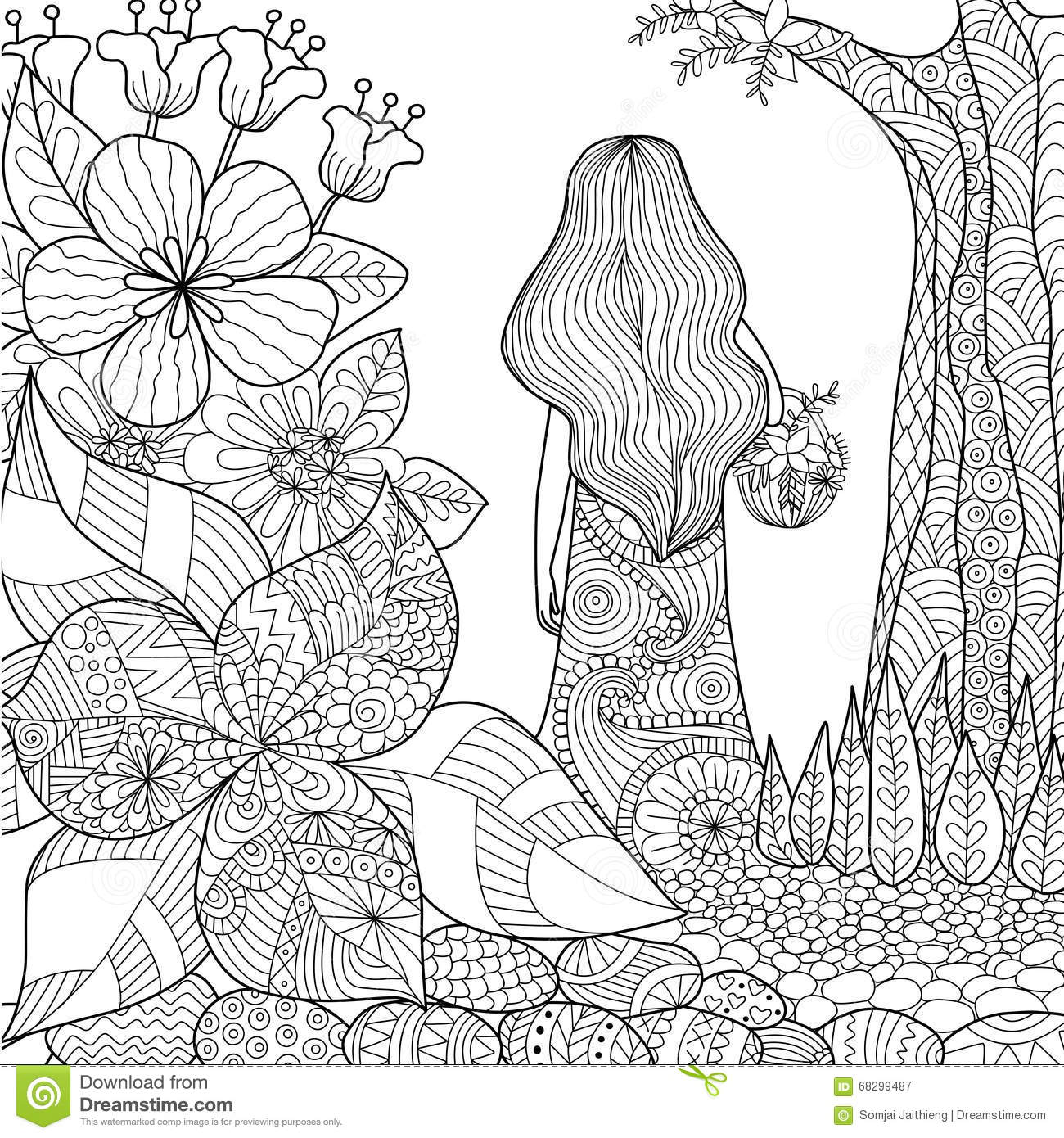 Flowers coloring book beautiful pictures from the garden of nature - Girl In The Garden