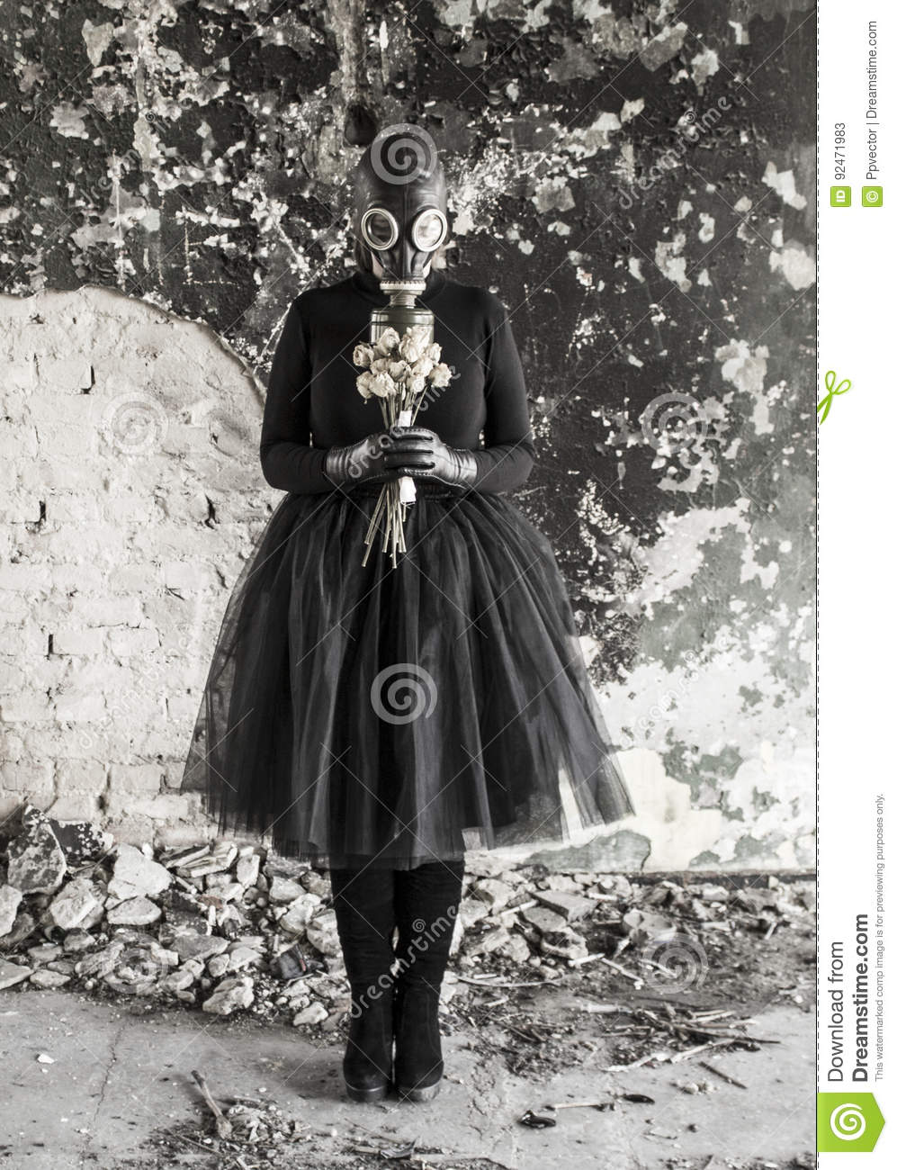 The girl in a gas mask. The threat of ecology.