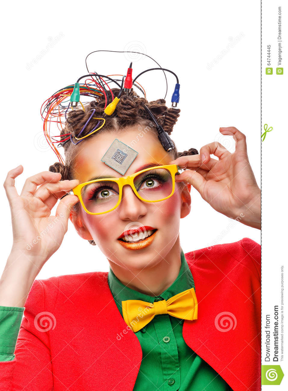 girl geek computer technician glasses stock photo