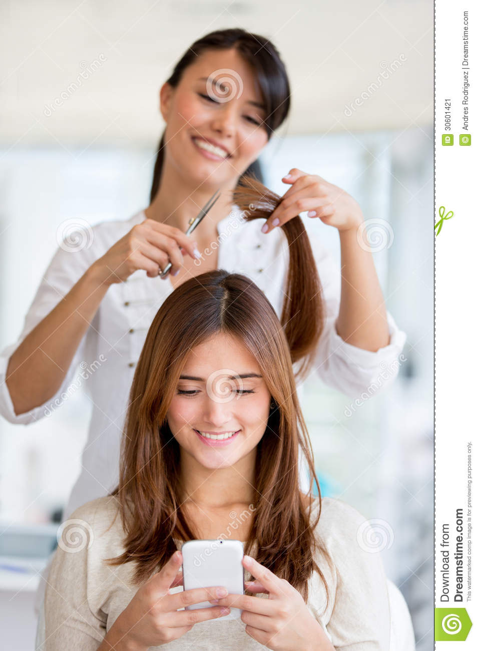 Girl getting a haircut stock image image 30601421 for A beautiful you salon