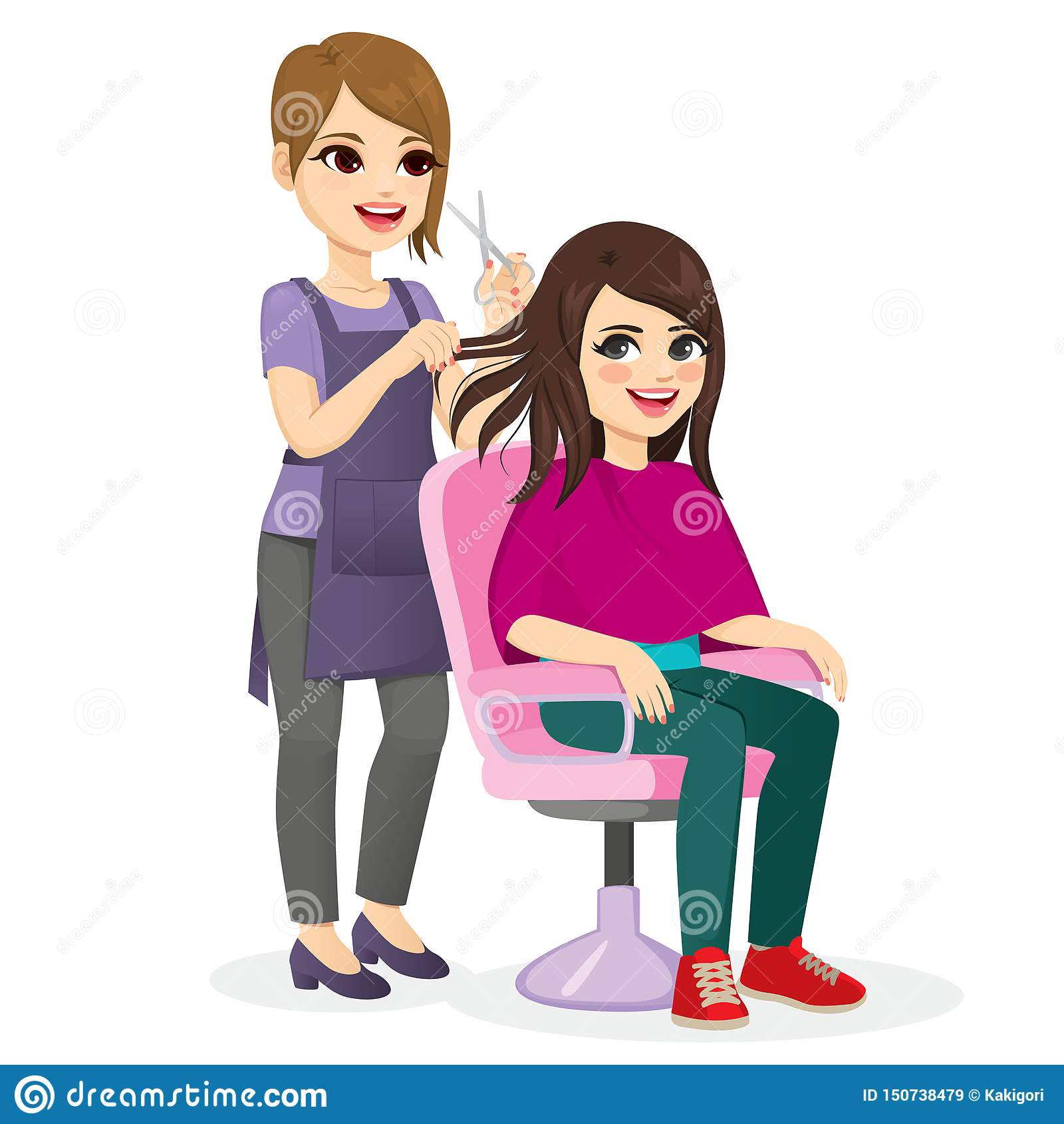 Girl Getting New Hairstyle Stock Vector Illustration Of Salon 150738479