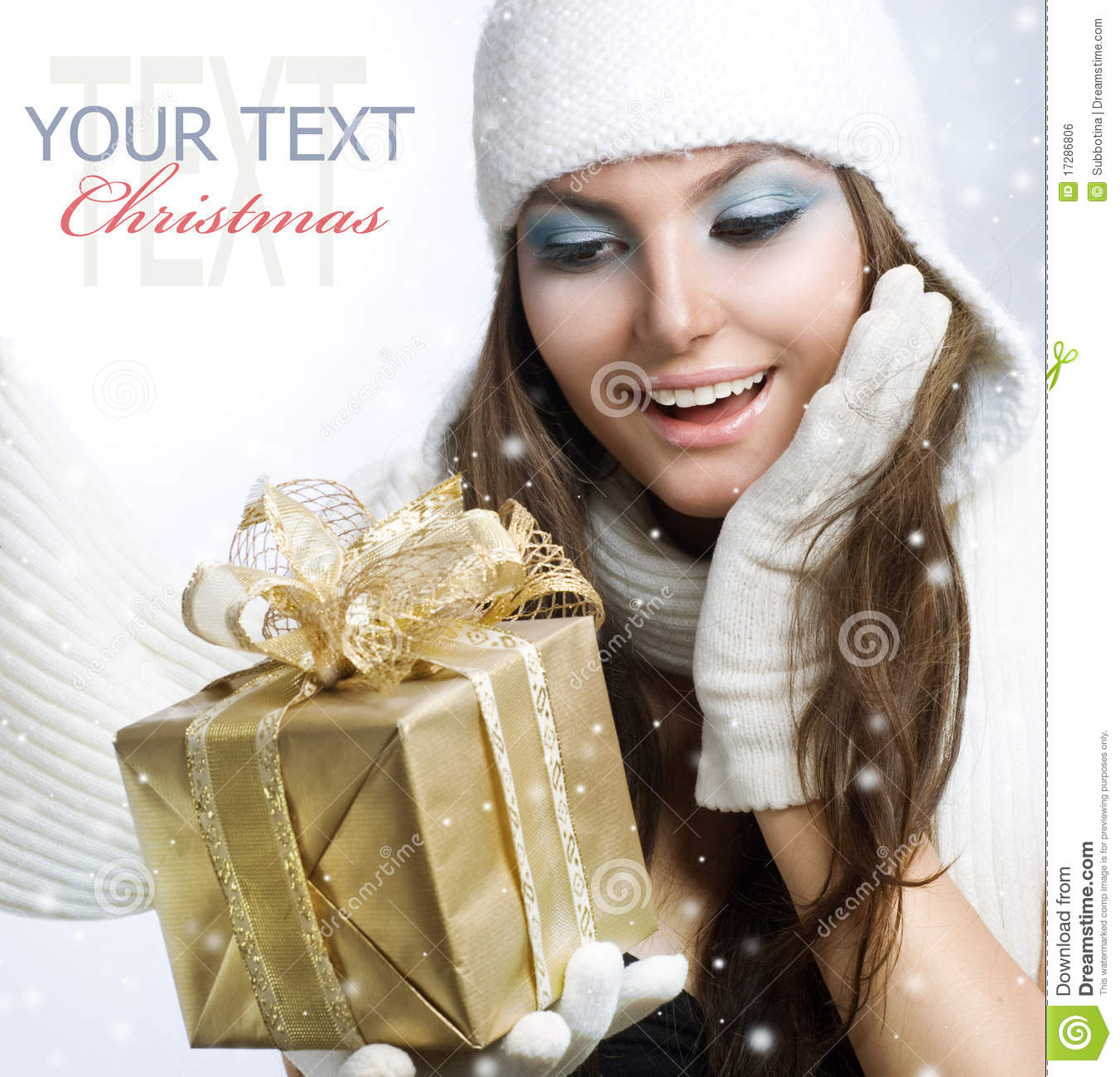 Download Girl with Gift stock photo. Image of girl, laughing, gold - 17286806
