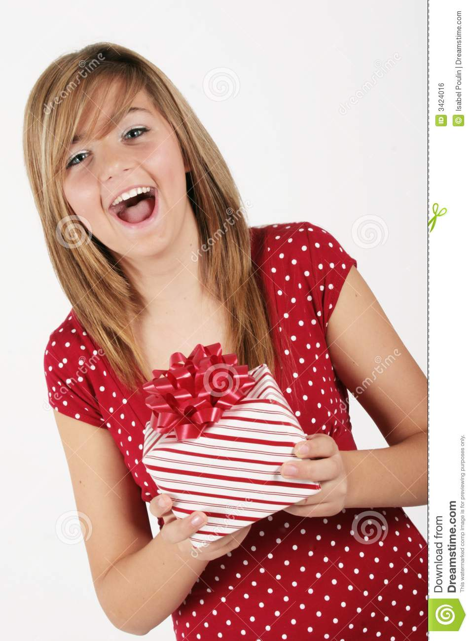 Girl with gift package