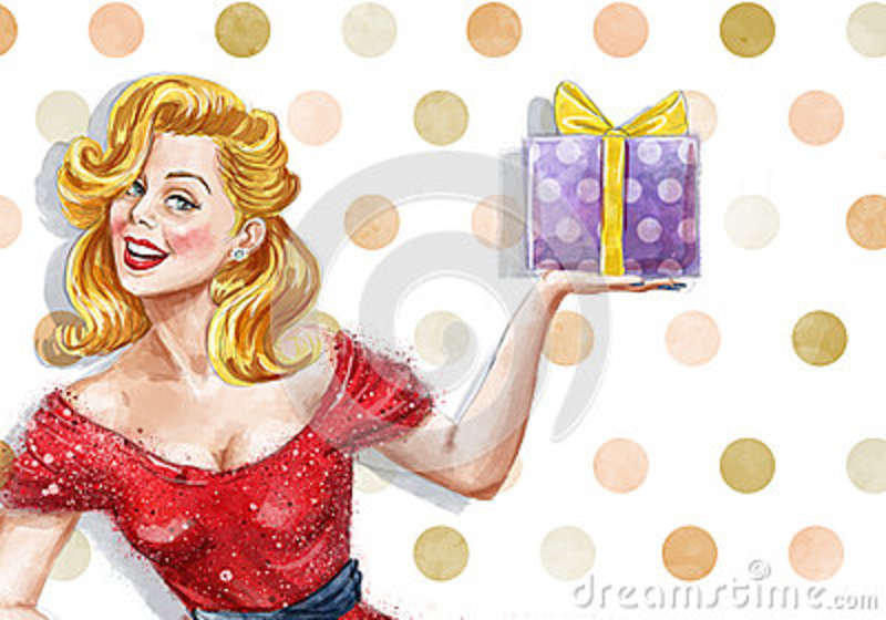 5441f09ed Girl With The Gift In Vintage Style. Pin Up Girl. Party Invitation. Birthday  Greeting Card.pin Up Woman With The Gift Illustration 65673028 - Megapixl