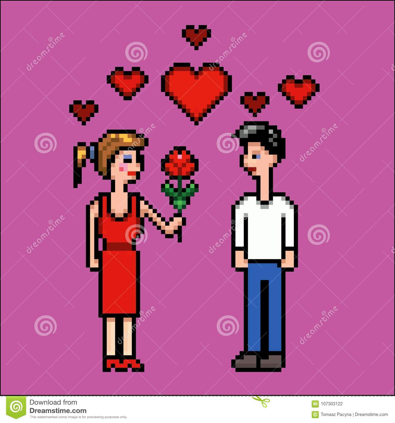 Girl Gives Flower To A Boy Valentines Day Pixel Art Vector
