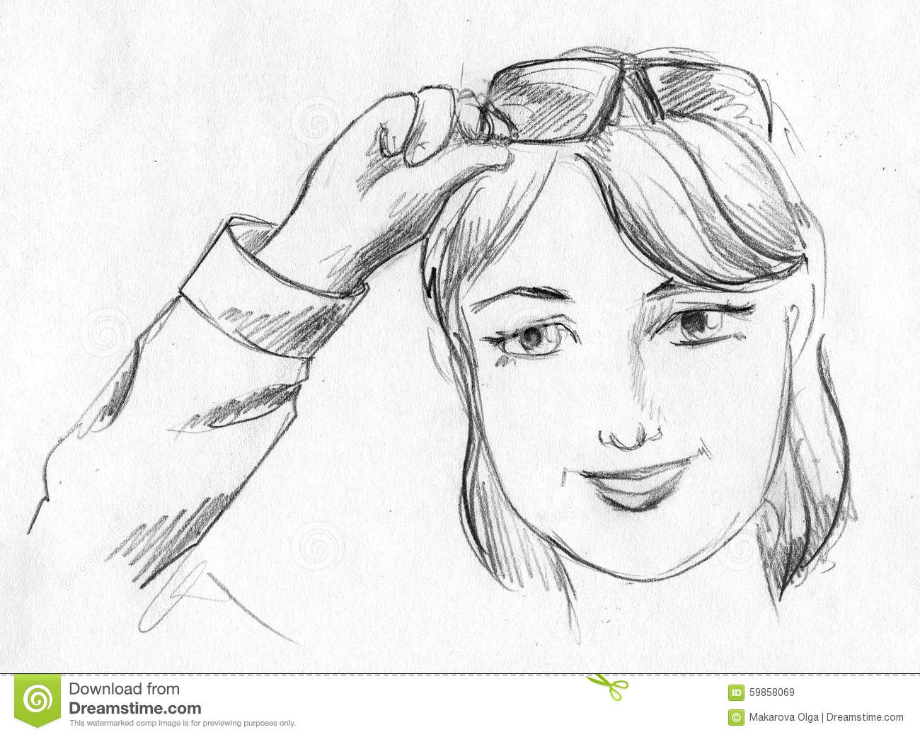Hand drawn pencil sketch of a smiling girl raising her glasses up