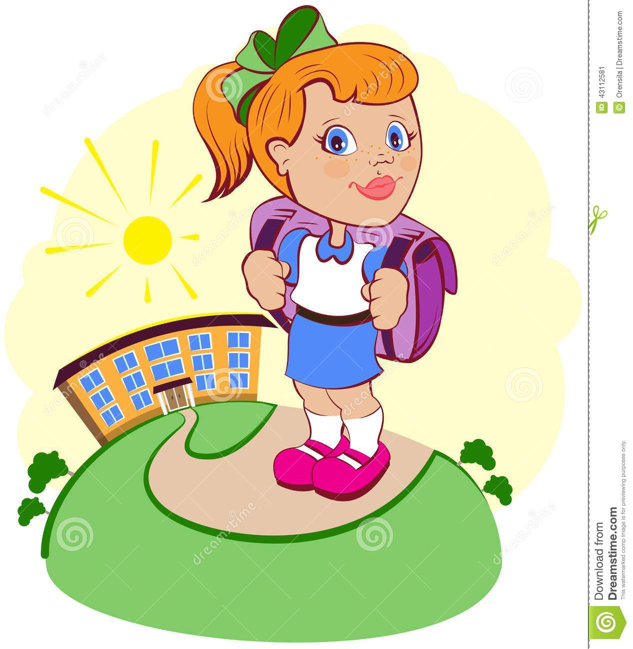 The Girl Goes To School Stock Vector - Image: 43112581