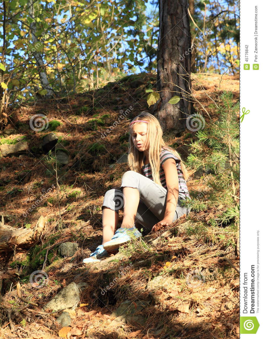 Girl going down in forest stock photo. Image of cutie - 45776842