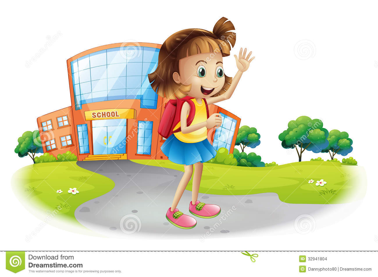 A girl going home from school stock vector illustration for Back to home pics