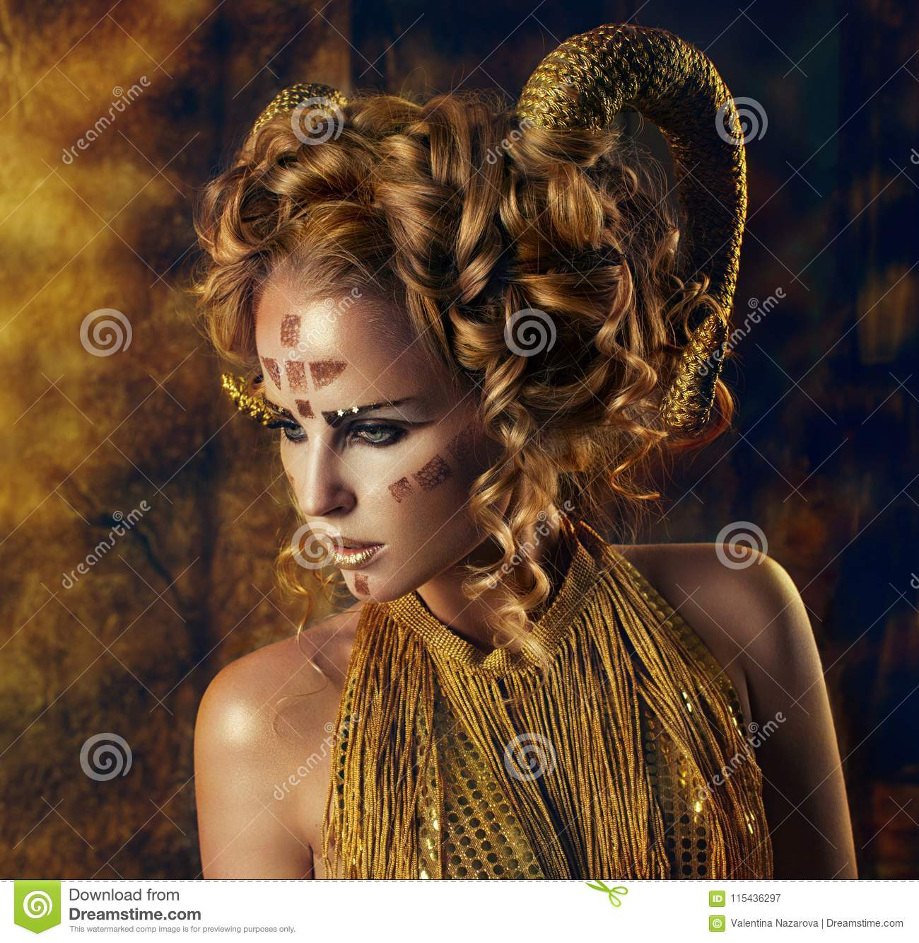 The girl with the Golden horns