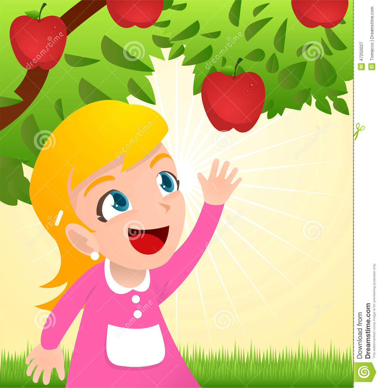 Girl Grabbing An Apple From A Tree Stock Illustration ...