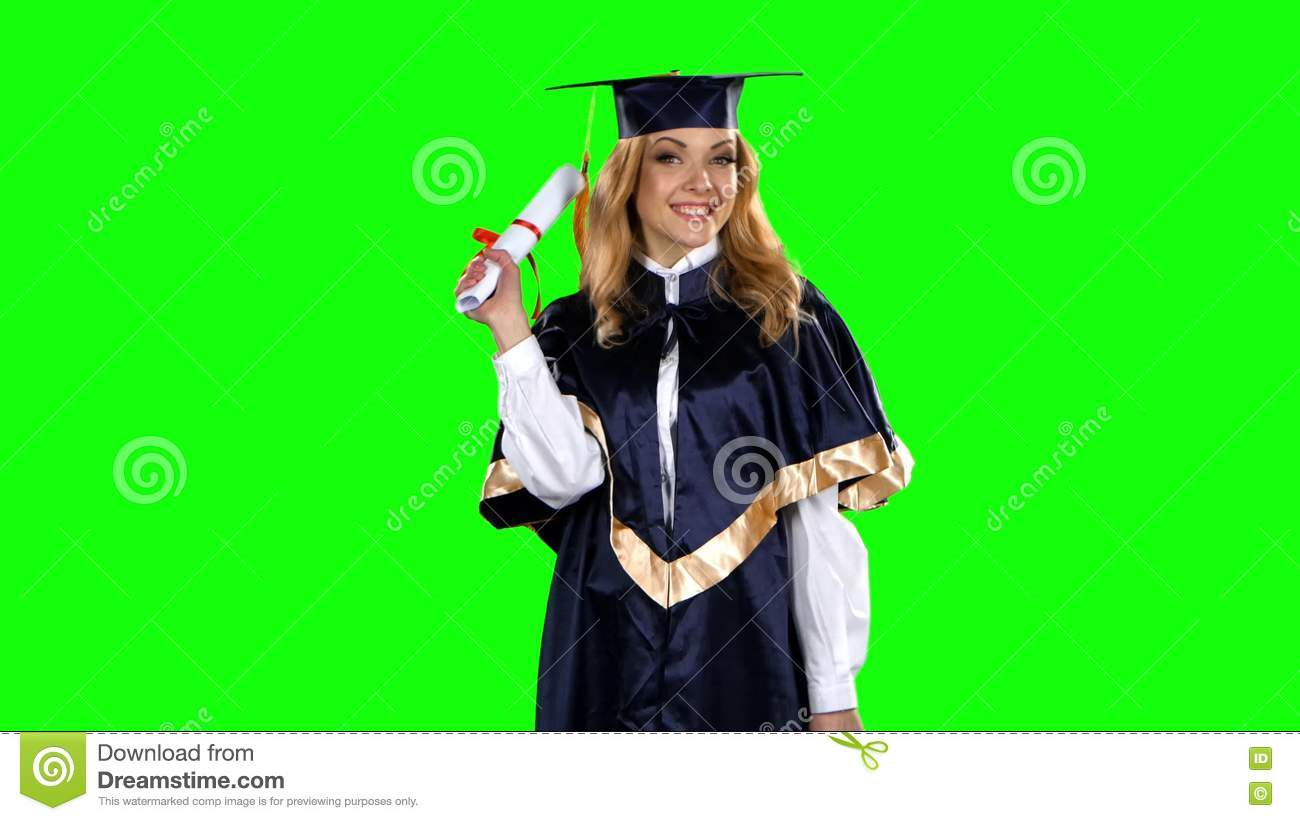 Girl With Graduation Gown And Diploma. Green Screen Stock Video ...