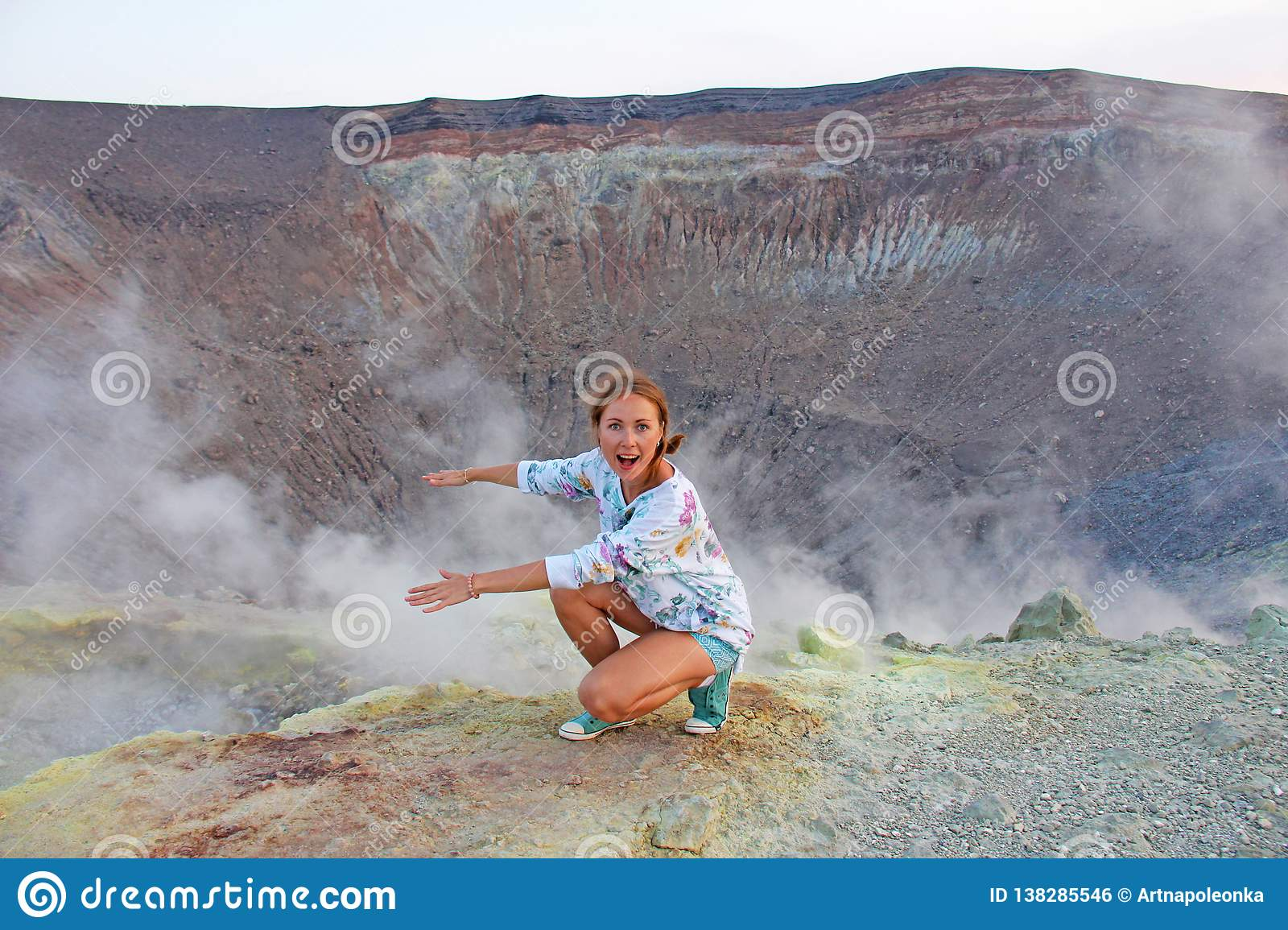 A girl on the Gray Hydrogen Volcano and Volcano Craters on Vulca