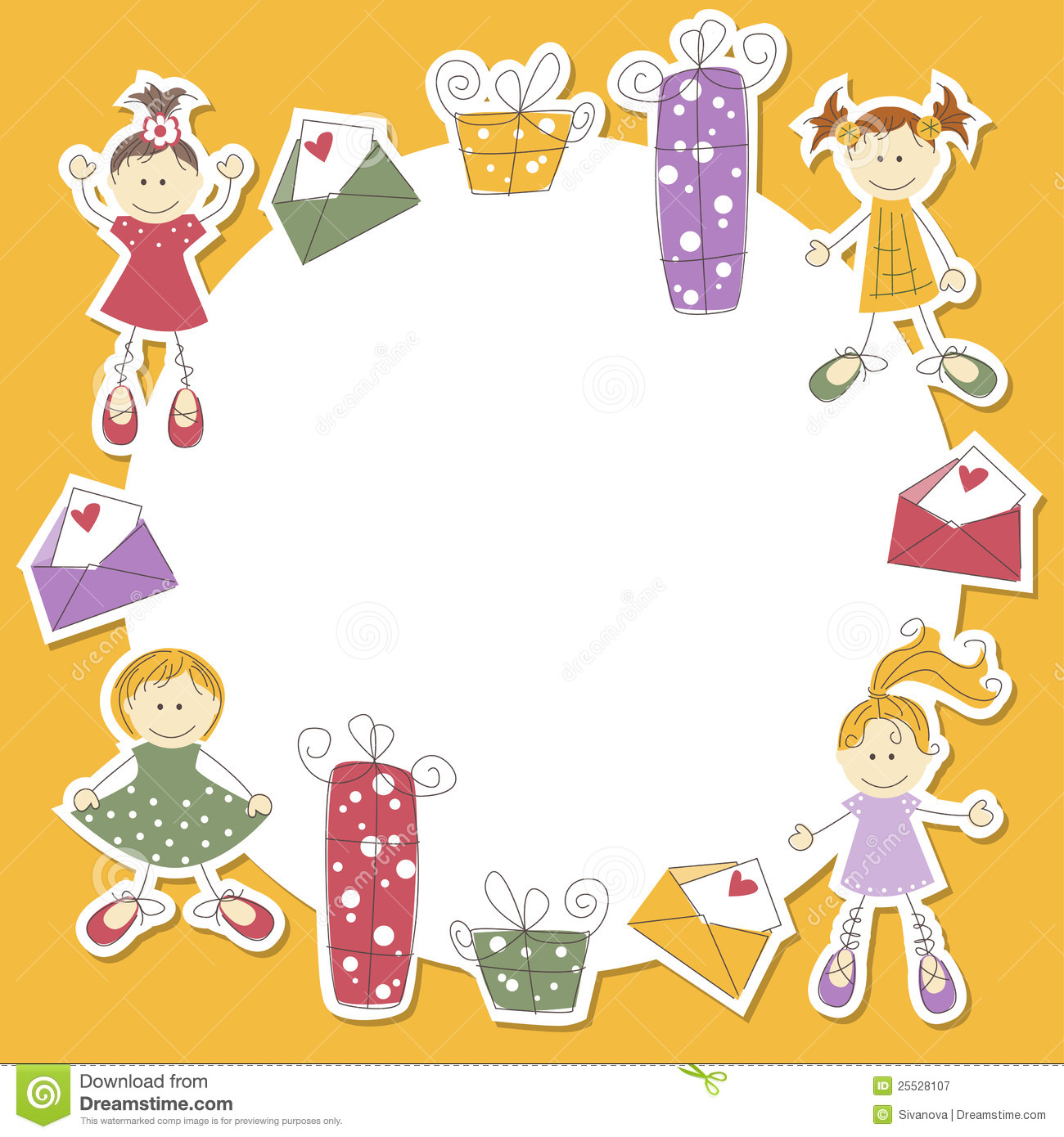 Girl Greeting Card, Vector Illustration Royalty Free Stock Photography ...