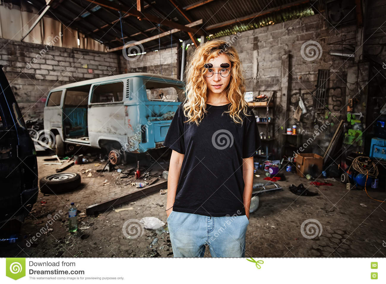Girl In A Grunge Garage Stock Photo Image Of Person 79706430