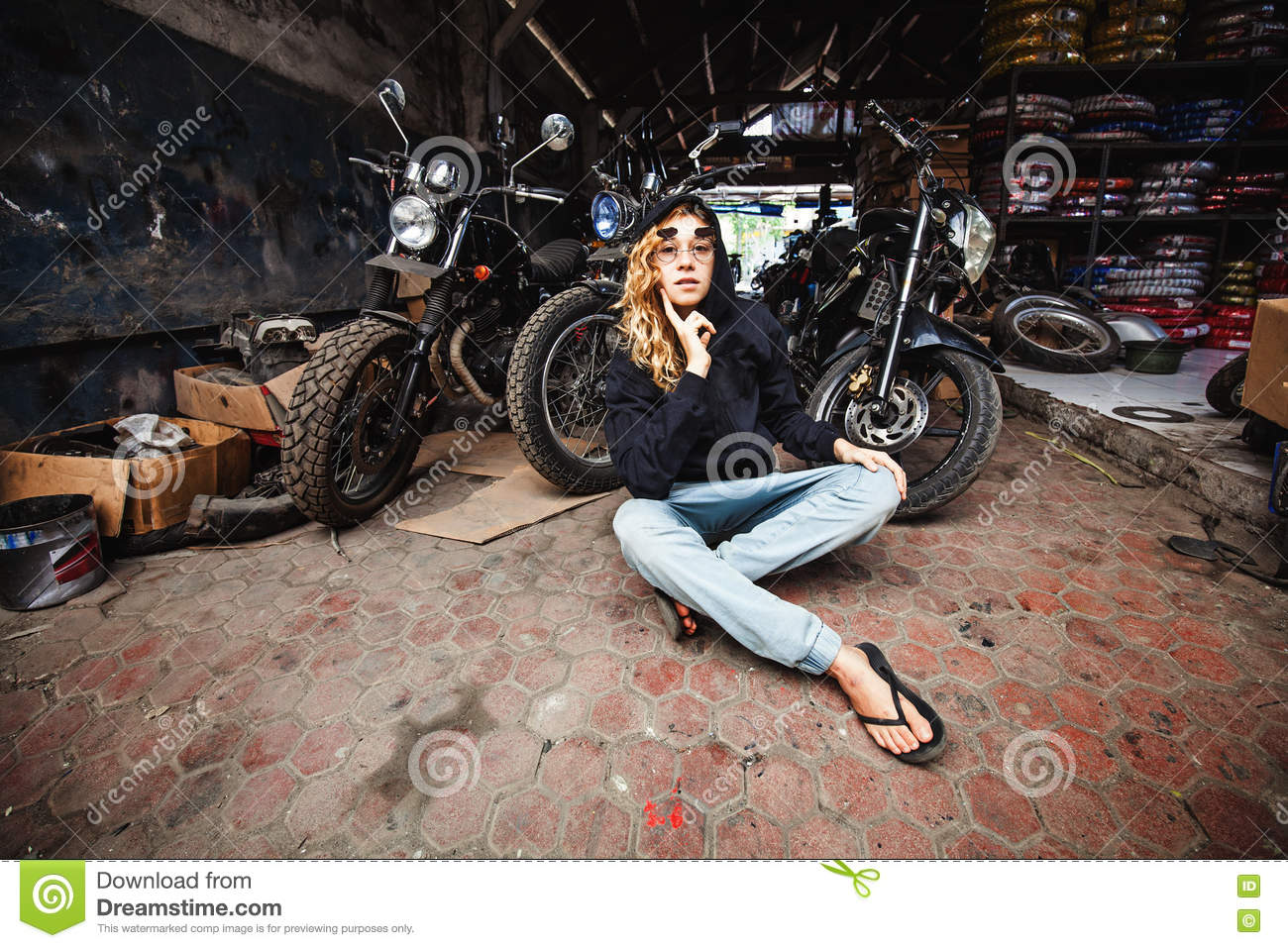 Girl In A Grunge Garage Stock Photo Image Of Goggles 79706440