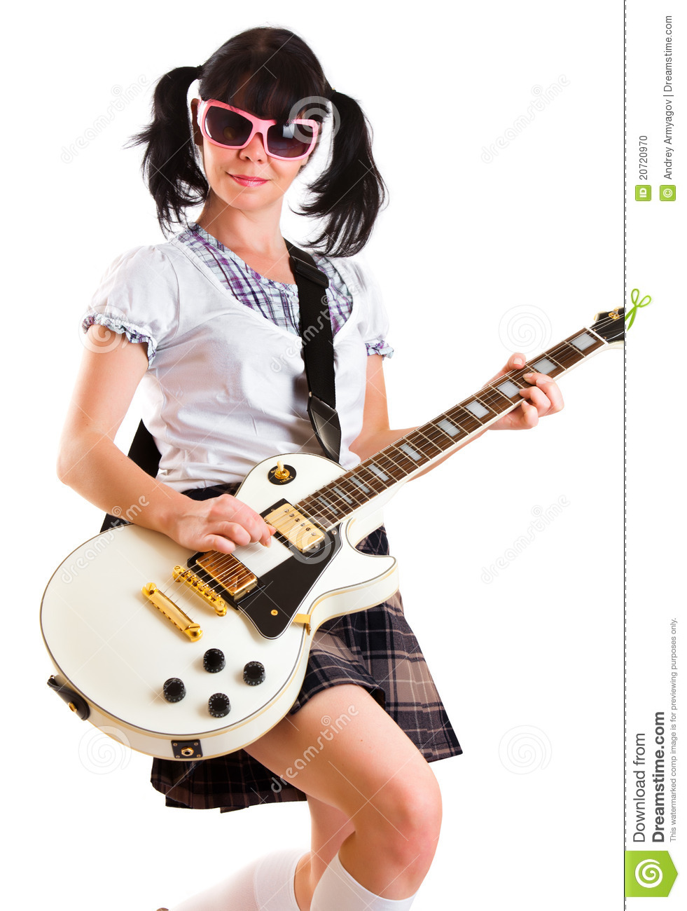 girl with a guitar stock photo image 20720970. Black Bedroom Furniture Sets. Home Design Ideas