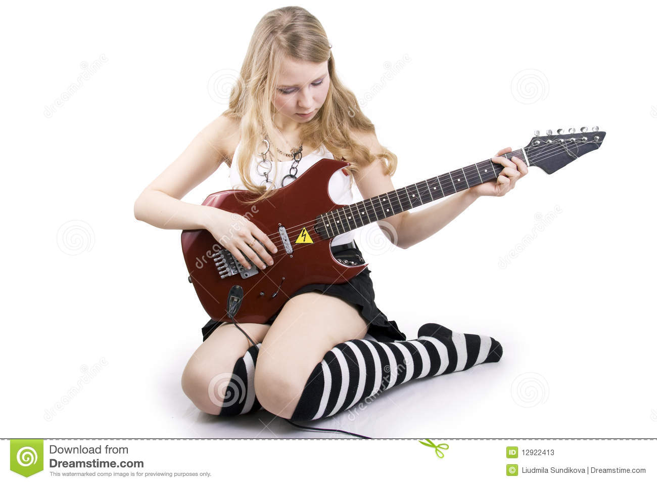 girl guitar player stock image image of curly arts 12922413. Black Bedroom Furniture Sets. Home Design Ideas