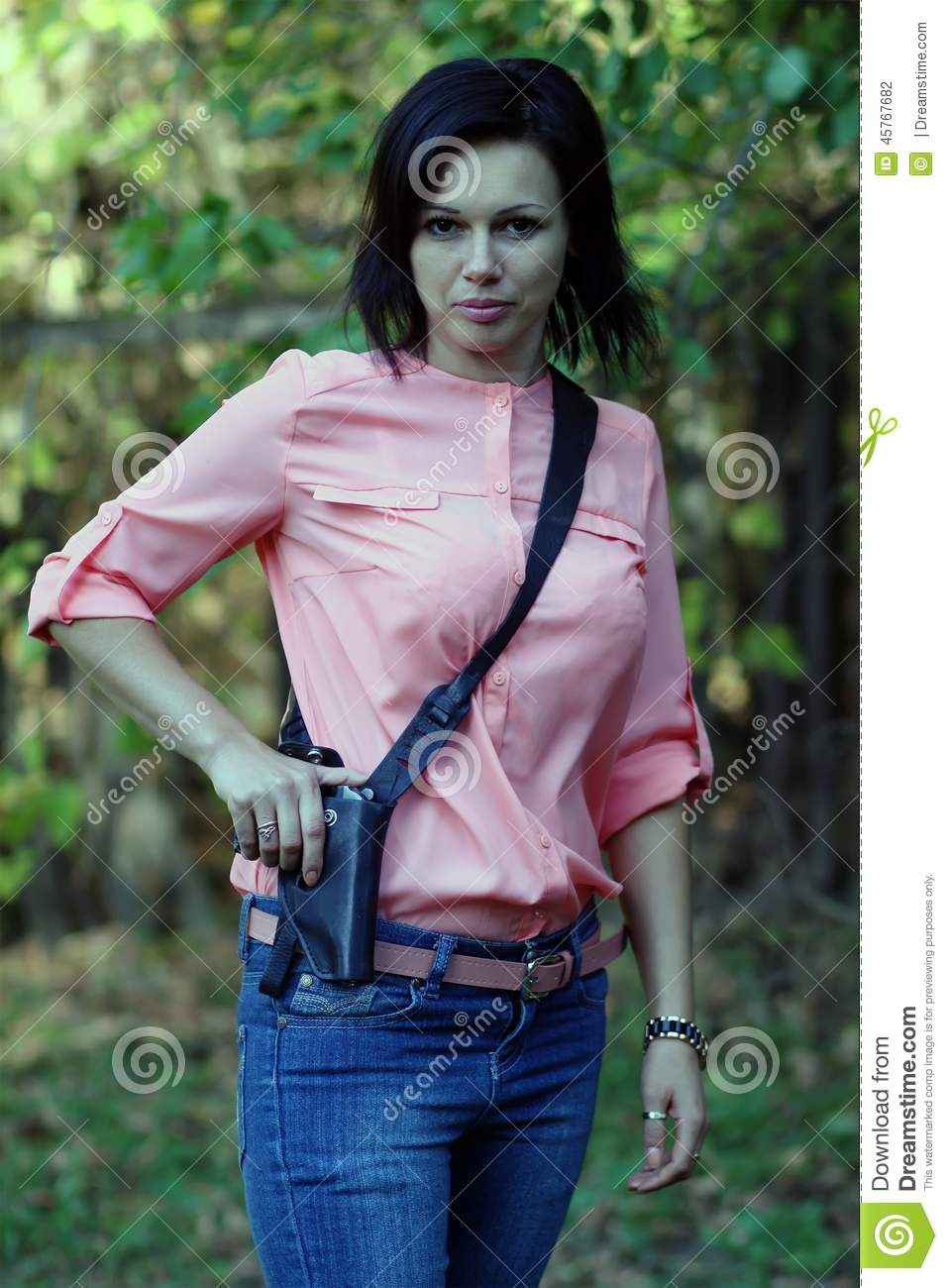 Girl With A Gun In His Hand Stock Photo Image 45767682