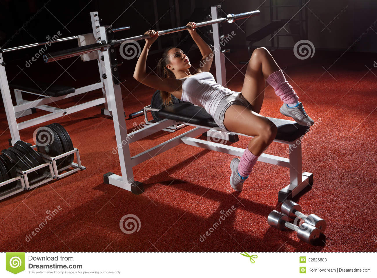 Girl In Gym Bar Bench Press Stock Image Image Of Muscular Dumbbell 32826883