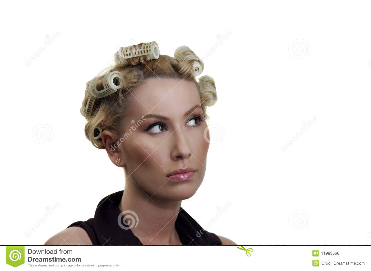 The Girl About Hair Curlers Royalty Free Stock Image - Image: 11983666