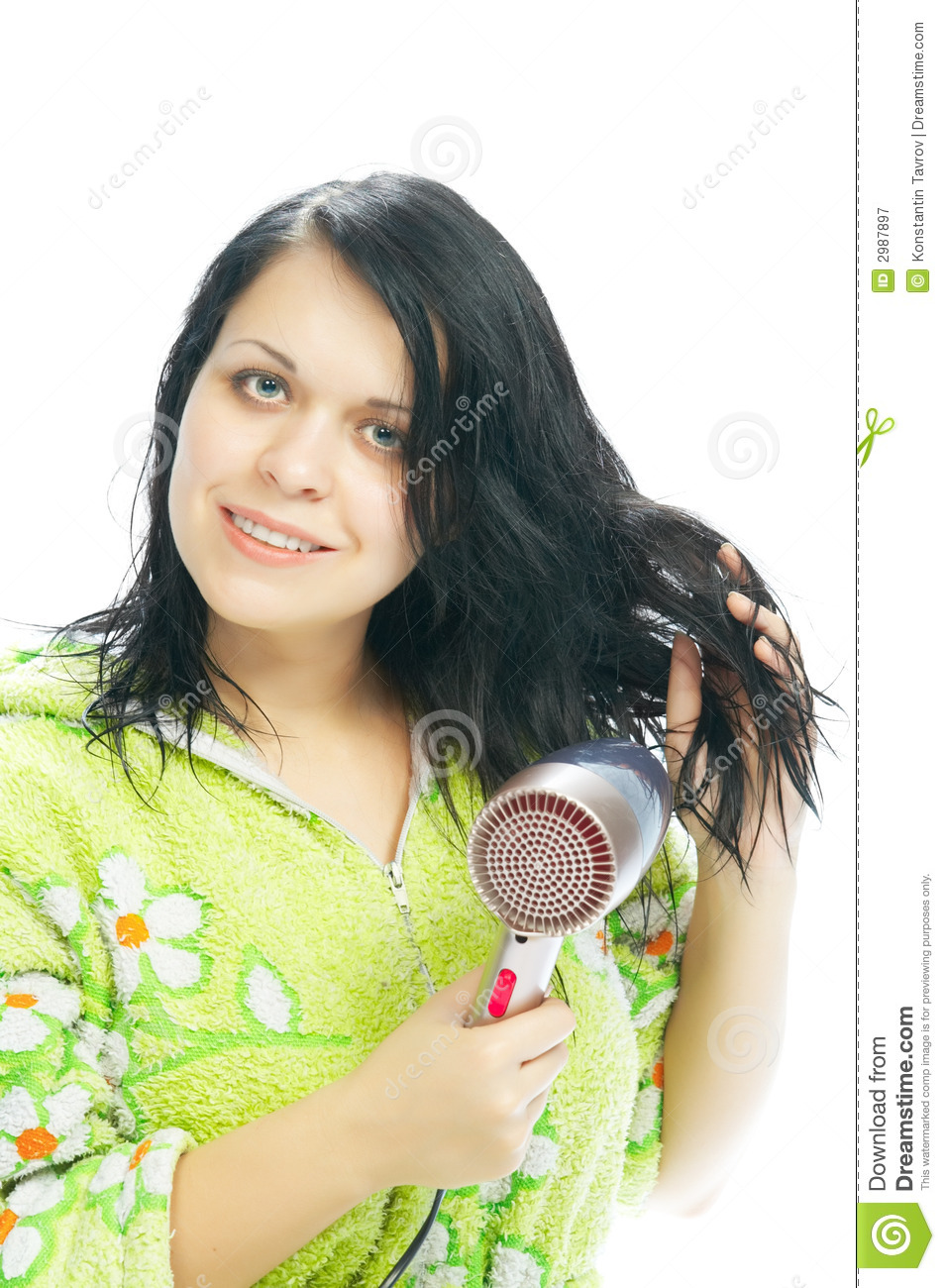 Girl with hair-dryer