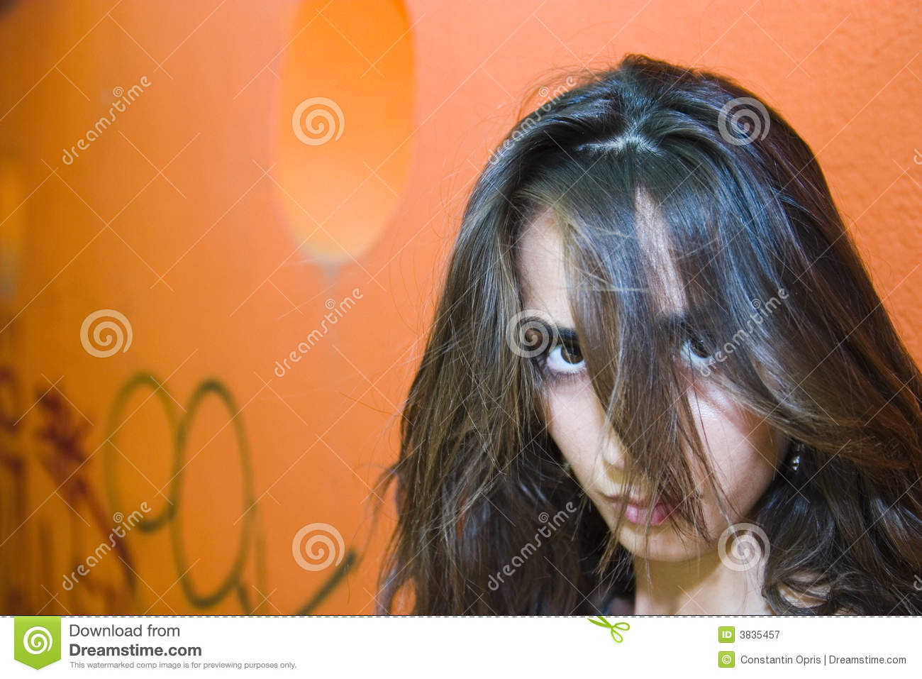 Girl With Hair Over Face Stock Image Image Of Glancing 3835457