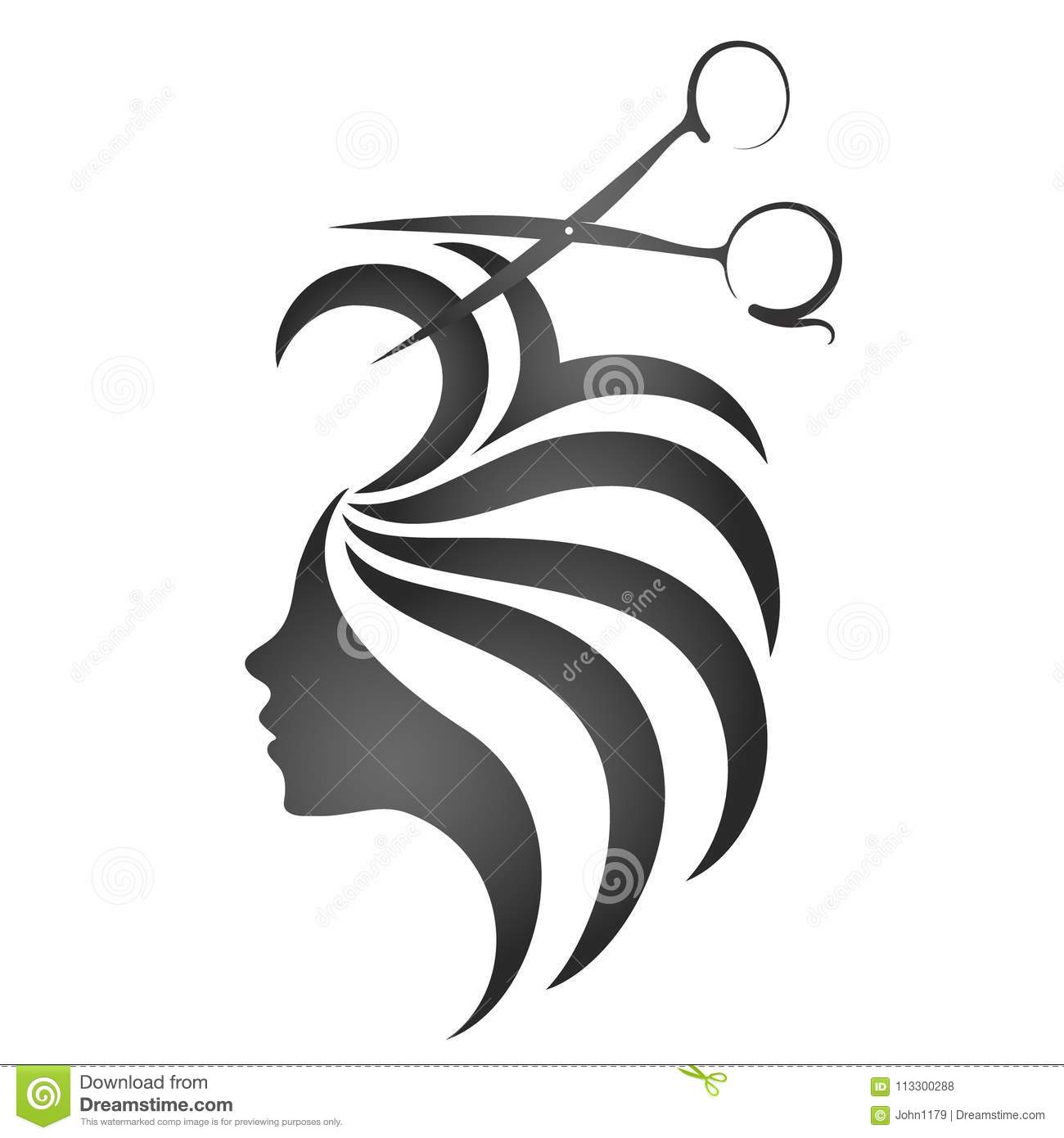 Girl With Hair And Scissors Symbol Stock Vector Illustration Of