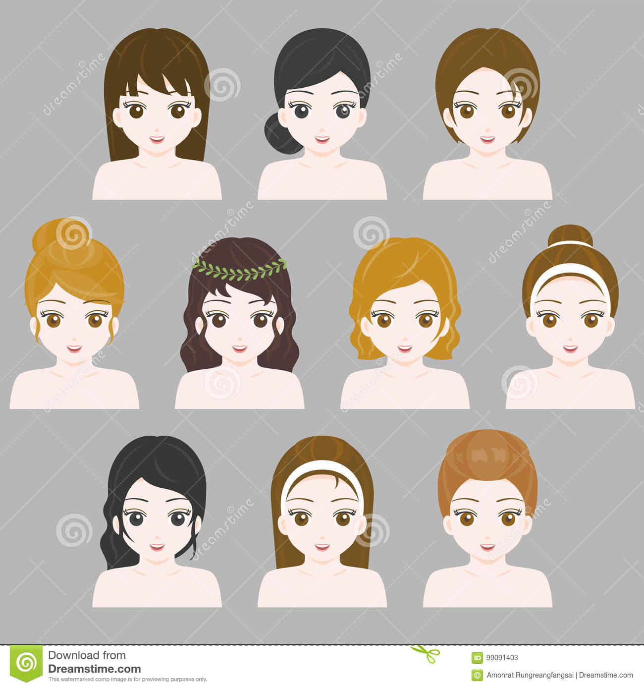 Girl Hair Style Collection Flat Design For Using In Game Stock Vector Illustration Of School Bohemian 99091403