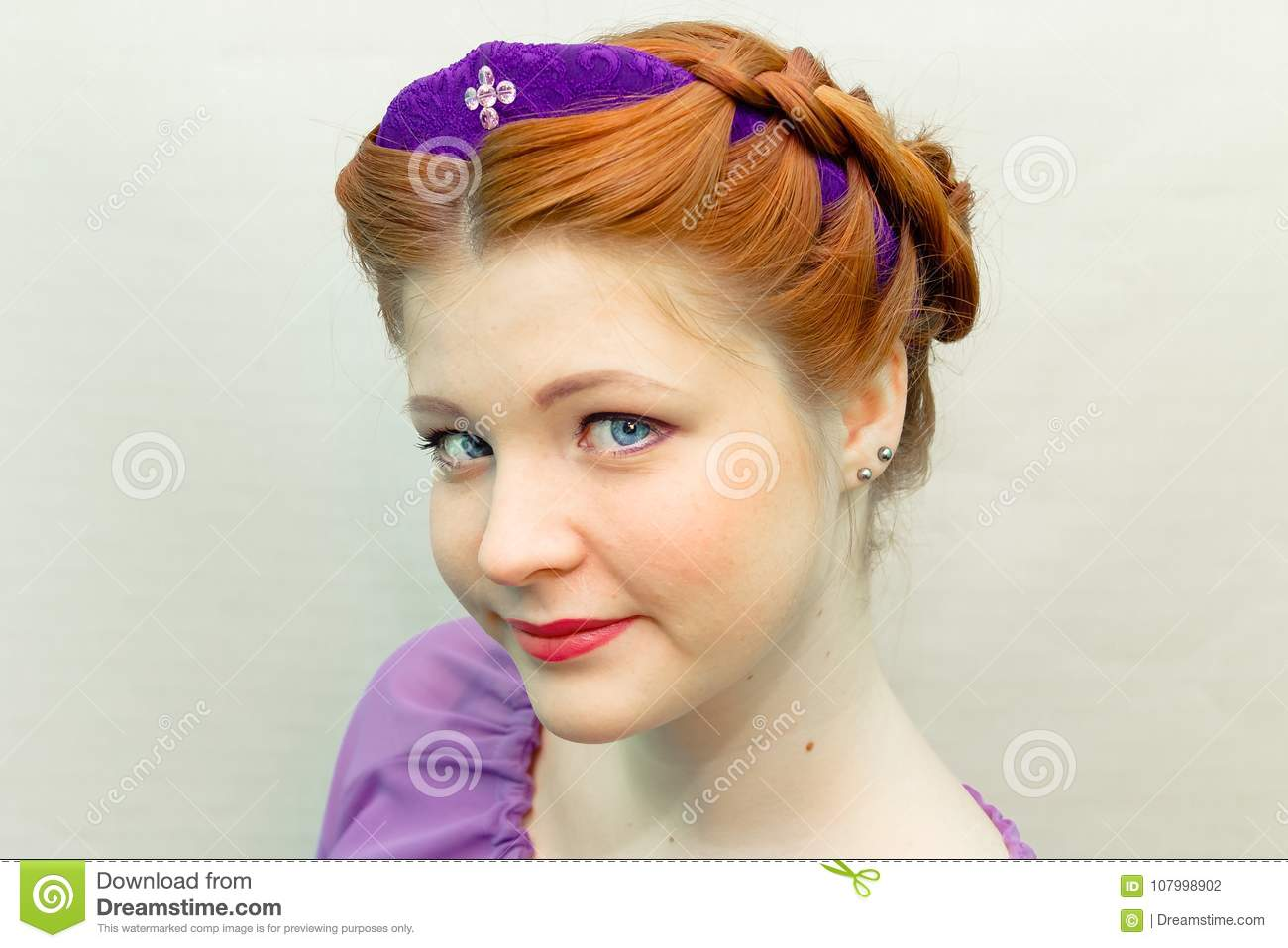 Girl with a hair style in a Slavic style