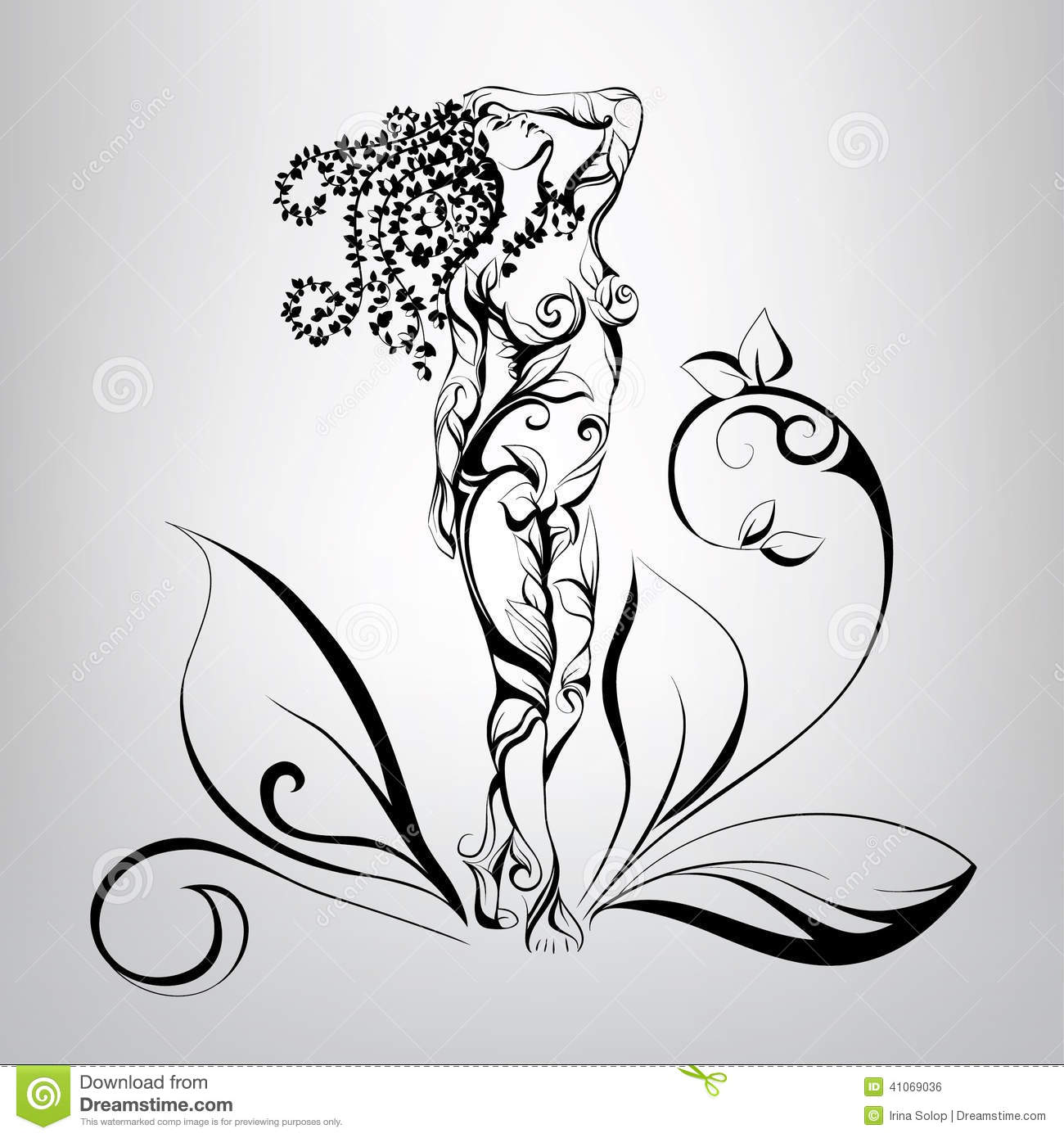 Girl with hair of vegetation vector illustration stock vector illustration of luxury - Dessin vegetation ...