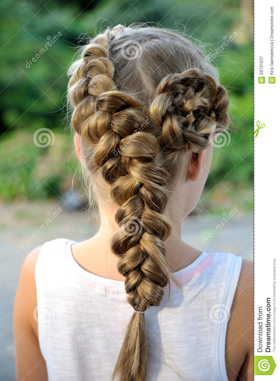 Girl hairstyle with French braid