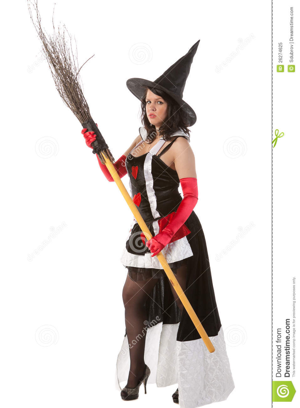 Girl In Halloween Witch Costume With Broom Royalty Free Stock ...