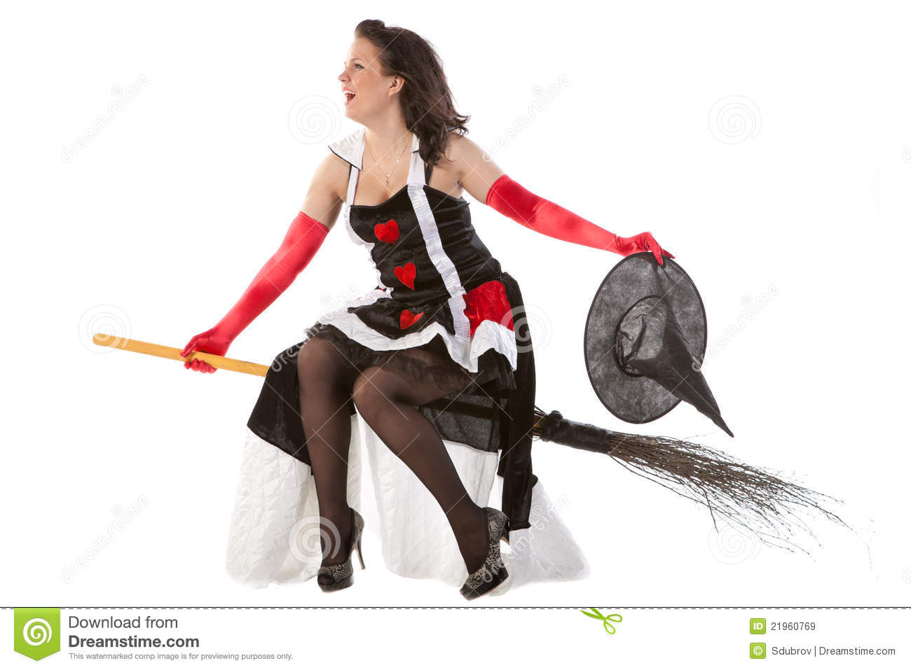 Girl In Halloween Witch Flying On A Broom Royalty Free Stock ...