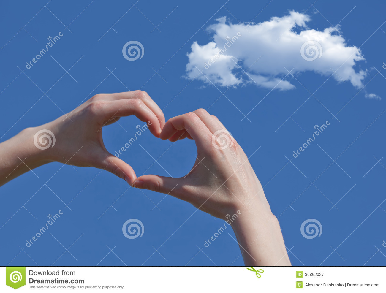 Girl Hand In Heart Form Love Blue Sky Stock Image - Image of ...