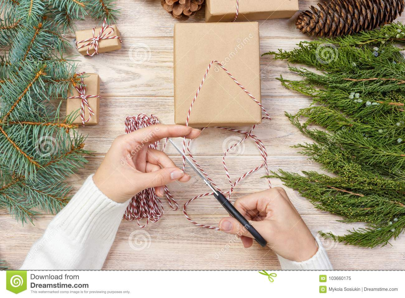 Girl Hands Wrapping New Year Gift, Gift Wrapping Process ...