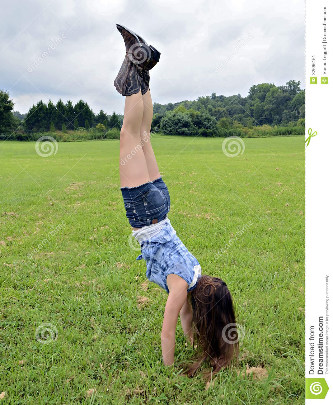 Girl Handstand Outdoors Stock Image - Image: 32696151