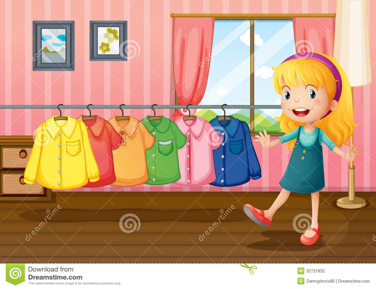A Girl Beside The Hanging Clothes Inside The House Stock Photography Image 32731832