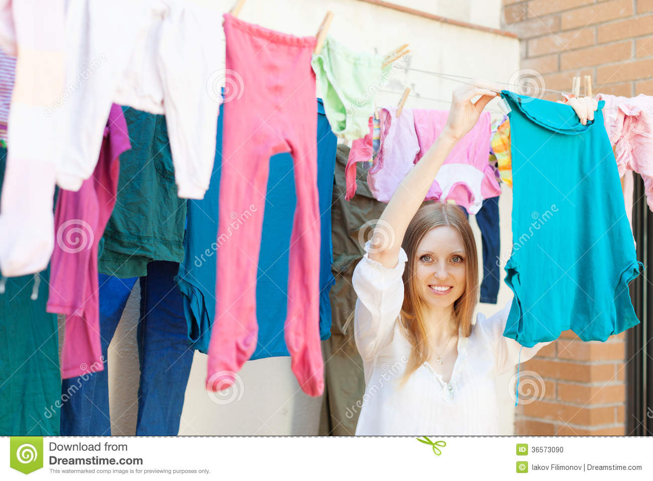 Clothes Hanging In Mexican Ghetto Stock Image