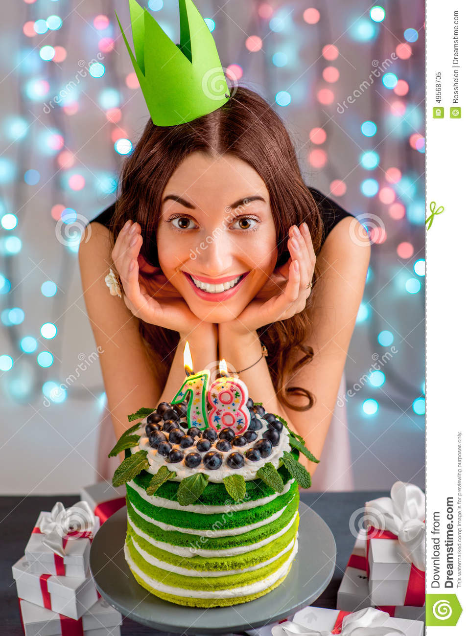 Peachy Girl With Happy Birthday Cake Stock Image Image Of Green Birthday Cards Printable Nowaargucafe Filternl